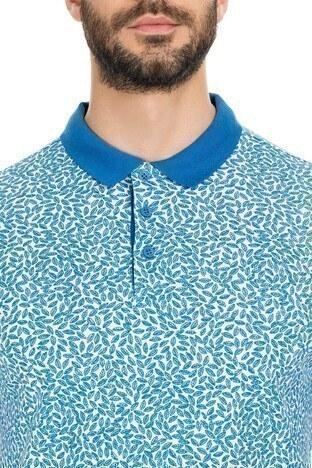 Navigli Yaka T Shirt Erkek Polo 5273DSN34 Beyaz-İndigo