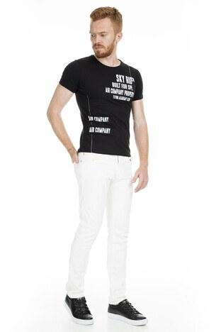 Noche Baskılı Bisiklet Yaka Erkek T Shirt 515527 SİYAH