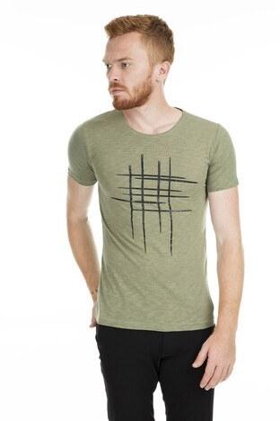 Noche Baskılı Bisiklet Yaka Erkek T Shirt 515529 HAKİ