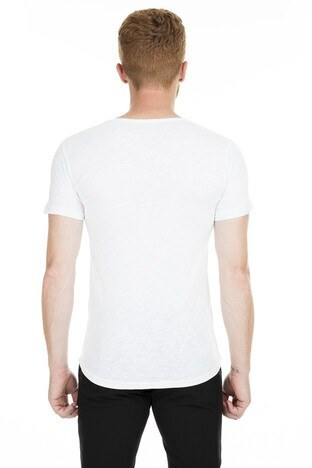 Noche Kabartmalı Bisiklet Yaka Erkek T Shirt 515540 BEYAZ