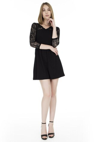 Only - Only Onlbetta LS Lace Bayan Elbise 15181263 SİYAH