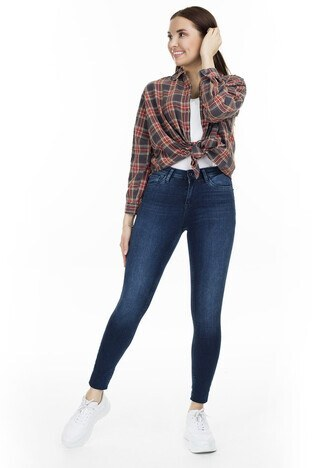 Only Onlida Jeans Bayan Kot Pantolon 15200940 KOYU MAVİ