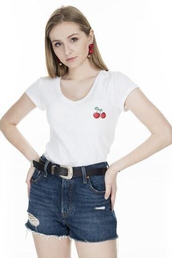 Only Onlkoop Bayan T Shirt 15203598C BEYAZ