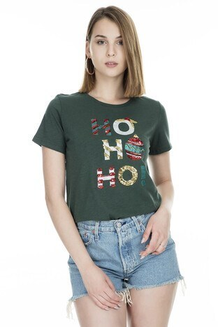 Only - Only Onlmerry SS Christmas Bayan T Shirt 5168505 YEŞİL