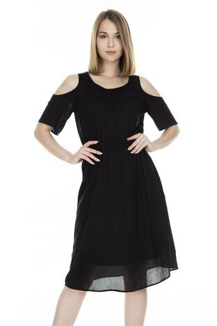 Only Onlrorry Cold Shoulder Bayan Elbise 15172822 SİYAH