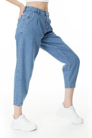 Only Onlverna Balloon Jeans Bayan Kot Pantolon 15216512 MAVİ