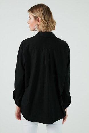 Patiskha % 100 Pamuklu Yüz Desenli Oversize Bayan Gömlek 51429702 SİYAH