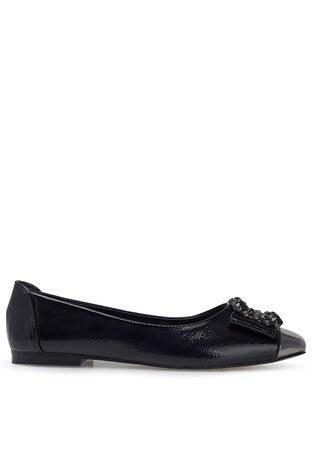 Pierre Cardin - Pierre Cardin Tokalı Parlak Bayan Ayakkabı PC-50751P SİYAH