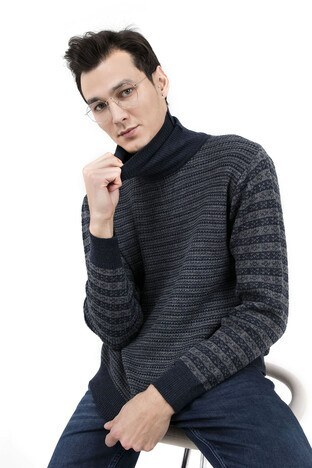 Pique - PIQUE Erkek Kazak 9KT30076 LACİVERT