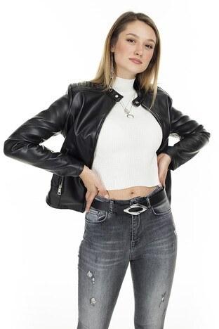 Pique Suni Deri Dik Yaka Ceket Kadın Deri Ceket 497SIMA SİYAH