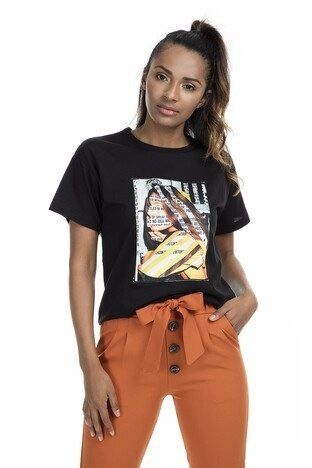 Quzu - Quzu Bayan T Shirt 23418489 SİYAH