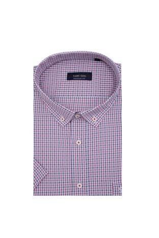 Sabri Özel Büyük Beden Kısa Kollu Erkek Gömlek 390B1010 KIRMIZI