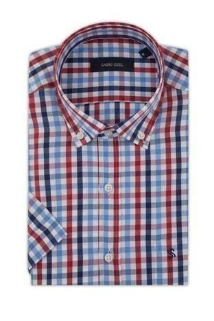 Sabri Özel Kısa Kollu Düğmeli Yaka Erkek Gömlek 4187016 LACİVERT