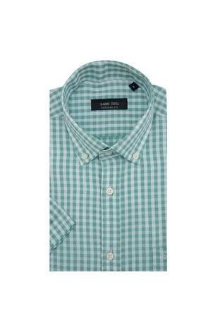 Sabri Özel Kısa Kollu Gömlek Erkek Uk Gömlek 0819020 YEŞİL