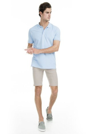 Sabri Özel Polo Erkek T Shirt T446688 AÇIK MAVİ
