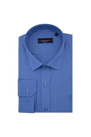 Sabri Özel - Sabri Özel Slim Fit Erkek Uzun Kollu Gömlek 5431640B İNDİGO