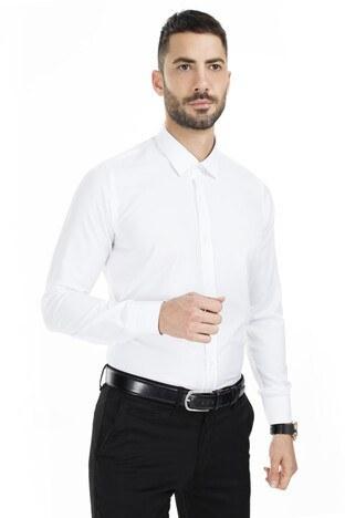 Sabri Özel - Sabri Özel Slim Fit Erkek Uzun Kollu Gömlek 5431701 BEYAZ