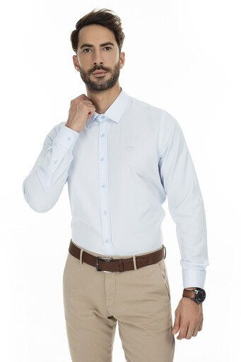 Sabri Özel Uzun Kollu Slim Fit Gömlek Erkek Uzun Kollu Gömlek 5431630 AÇIK MAVİ