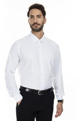 Sabri Özel - Sabri Özel Slim Fit Gömlek Erkek Uzun Kollu Gömlek 5431631 BEYAZ