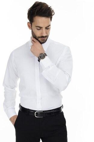 Sabri Özel - Sabri Özel Uzun Kollu Slim Fit Gömlek Erkek Uzun Kollu Gömlek 5431632 BEYAZ