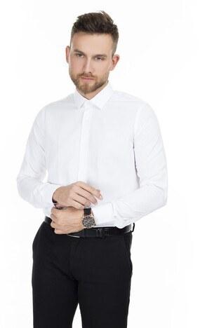 Sabri Özel - Sabri Özel Uzun Kollu Slim Fit Gömlek Erkek Uzun Kollu Gömlek 5431633 BEYAZ