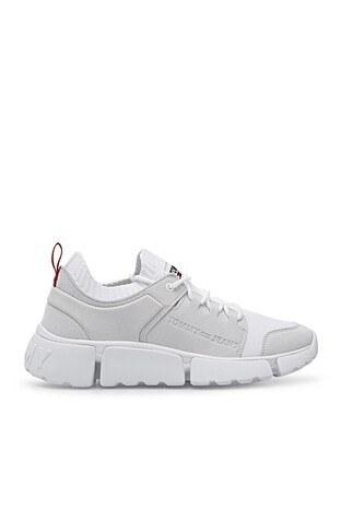 Tommy Hilfiger % 100 Deri Sneaker Erkek Ayakkabı EM0EM00679 YBR BEYAZ