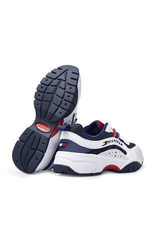 Tommy Hilfiger Deri Spor Erkek Ayakkabı EM0EM00482 0K9 LACİVERT-BEYAZ