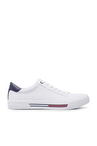 Tommy Hilfiger Deri Spor Erkek Ayakkabı EM0EM00488 YBR BEYAZ