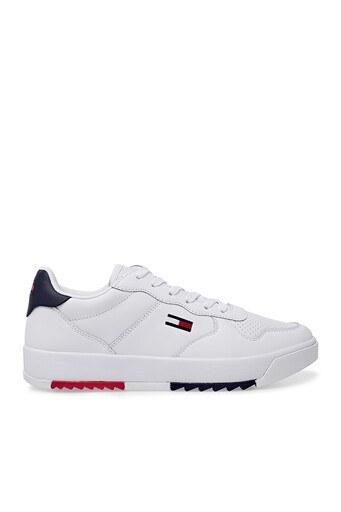 Tommy Hilfiger Sneaker Deri Erkek Ayakkabı EM0EM00611 YBR BEYAZ