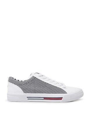 Tommy Hilfiger - Tommy Hilfiger Sneaker Erkek Ayakkabı EM0EM00199 100 BEYAZ
