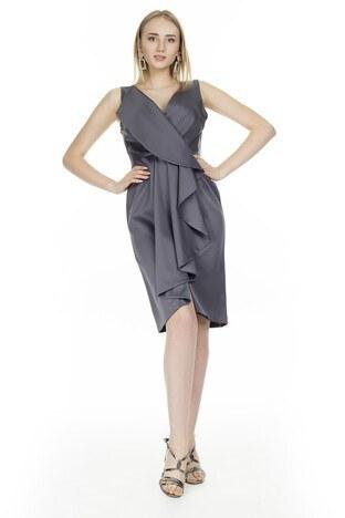 Trend Kruvaze Yaka Volanlı Bayan Abiye Elbise 4784163 S0 GRİ