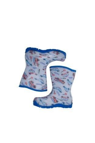 Twigy Tw Arabalar Erkek Çocuk Yağmur Çizmesi RR0854 CF BEYAZ-MAVİ