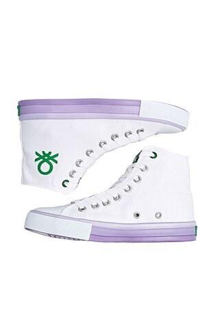 United Colors Of Benetton Sneaker Bayan Ayakkabı BN-30189 Beyaz-Lila