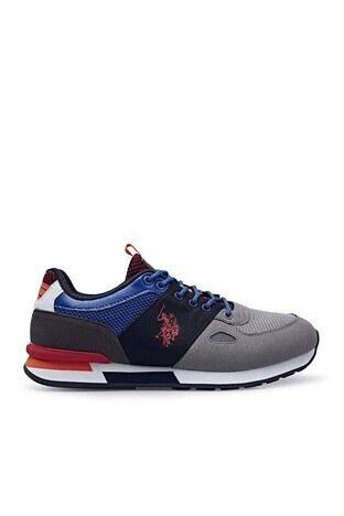 U.S. Polo Assn - U.S. Polo Erkek Ayakkabı BENTLEY 1FX Gri-Saks-Kırmızı