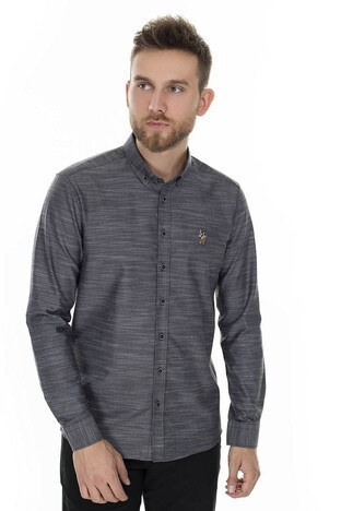U.S. Polo Assn - U.S. Polo Slim Fit Erkek Gömlek G081SZ004-845178 ANTRASİT