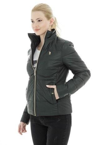 U.S. Polo Suni Kadın Deri Ceket G082SZ035P01 WP8030D YEŞİL