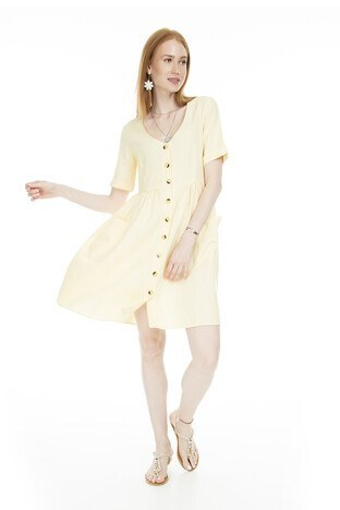 Vero Moda Düğmeli V Yaka Vmmallı Bayan Elbise 10214713 SARI