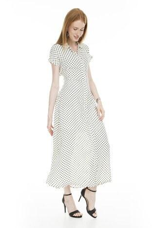 Vero Moda Puantiyeli Maxi Vmabigail Bayan Elbise 10223561 EKRU
