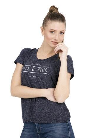 Vero Moda - VERO MODA VMCOTE DIANA SS TOP BOX T SHIRT Bayan T Shirt 10210573 LACİVERT