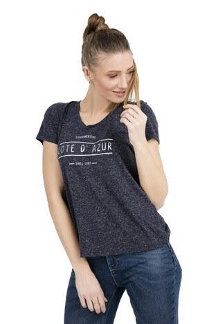 VERO MODA VMCOTE DIANA SS TOP BOX T SHIRT Bayan T Shirt 10210573 LACİVERT