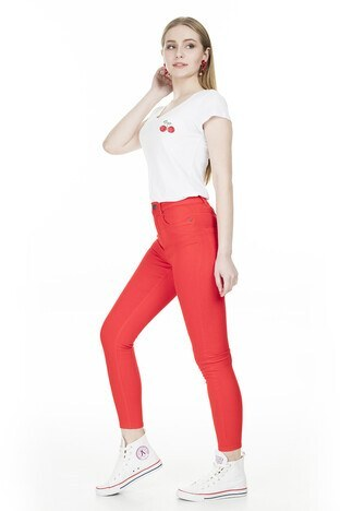 Vero Moda - Vero Moda Vmhot Sophia Hr Skinny Pants Color Jeans Bayan Kot Pantolon 10209868 KIRMIZI