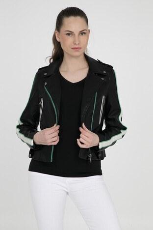 Vero Moda Vmina Short Faux Leather Jacket Bayan Deri Ceket 10209255 SİYAH-YEŞİL