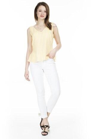 Vero Moda - Vero Moda Vmjulia Jeans Bayan Kot Pantolon 10211618 BEYAZ