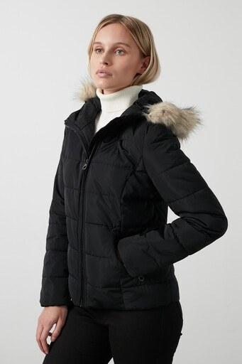 Vero Moda Vmmollie Regular Fit Kapüşonlu Şişme Bayan Mont 10235389 SİYAH