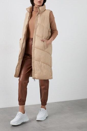 Vero Moda Vmuppsala Regular Fit Uzun Şişme Bayan Yelek 10236448 BEJ