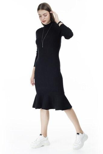 Via Dante Eteği Fırfırlı Balıkçı Yaka Bayan Elbise 29631120VD SİYAH