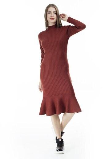 Via Dante Eteği Fırfırlı Balıkçı Yaka Bayan Elbise 29631120VD TARÇİN