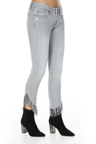 Via Dante Püskül Detaylı Jeans Bayan Kot Pantolon 429151135VD GRİ